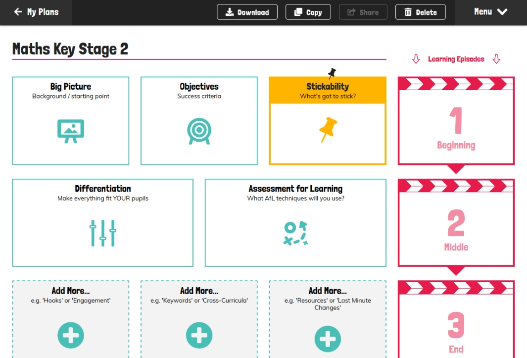 Screenshot of the 5 Minute Lesson Plan template